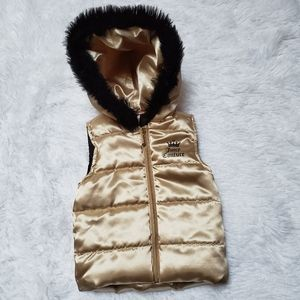 JUICY COUTURE GOLD SHIMMER PUFFER HOODED VEST